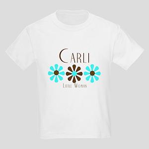 Carli - Blue/Brown Flowers Kids Light T-Shirt