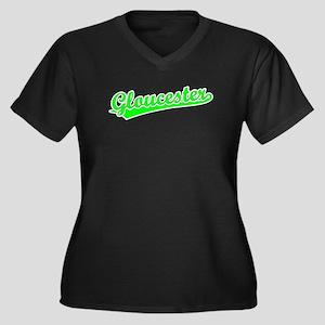 Retro Gloucester (Green) Women's Plus Size V-Neck