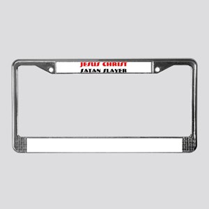JESUS CHRIST SATAN SLAYER License Plate Frame