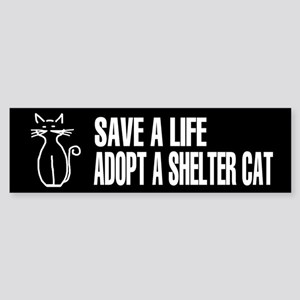 Adopt A Cat Black Bumper Sticker