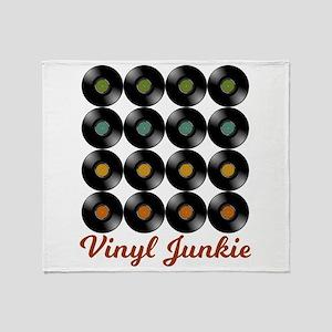 Vinyl Junkie   Record Collector Throw Blanket