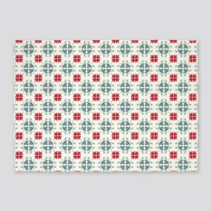 Floral Tiles Pattern 5'x7'Area Rug