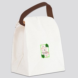 Sassy Pink Flamingo Canvas Lunch Bag