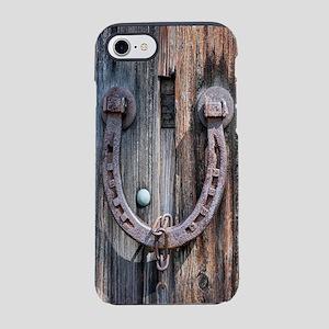 rustic barn wood horseshoe iPhone 8/7 Tough Case