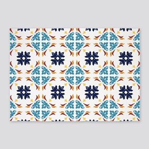 Talavera Floral Tiles Pattern 5'x7'Area Rug