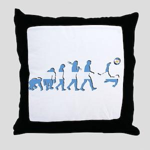 Argentinia Soccer Evolution Throw Pillow