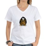 Cavewoman Penguin Women's V-Neck T-Shirt