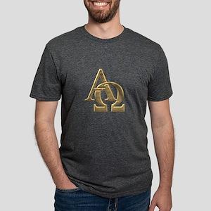 """3-D"" Golden Alpha and Omega Symbol T-Shirt"