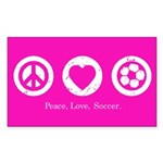 Peace, Love, Soccer Rectangle Sticker