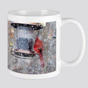 Goldfinch and Cardinal at Feeder Mugs