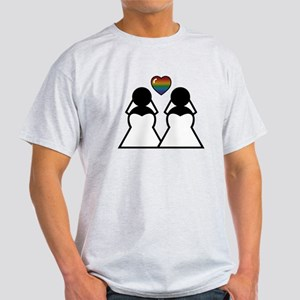 Silhouette Bride and Bride White T-Shirt