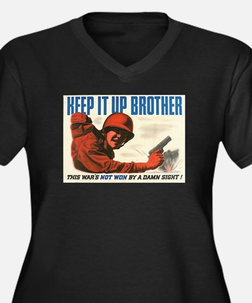 Keep It Up, Brother Women's Plus Size V-Neck Dark
