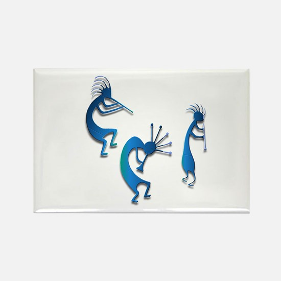 Three Kokopelli #123 Rectangle Magnet
