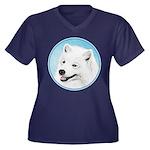 Samoyed Women's Plus Size V-Neck Dark T-Shirt
