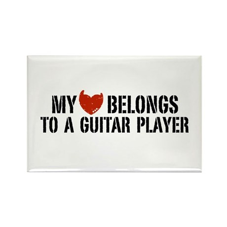 My Heart Belongs to a Guitar Player Rectangle Magn