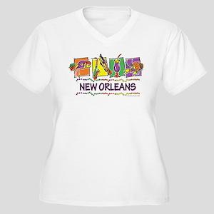 New Orleans Squares Women's Plus Size V-Neck T-Shi