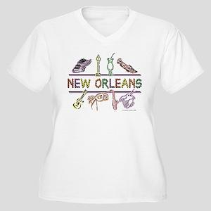 New Orleans Bead Design Women's Plus Size V-Neck T