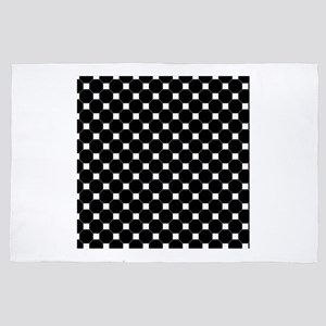 Black and white Checkered Pattern 4' x 6' Rug