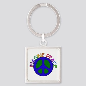 Imagine Peace Square Keychain