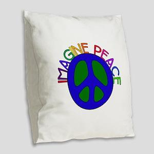 Imagine Peace Burlap Throw Pillow