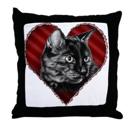 Tortoise Shell Cat Heart Throw Pillow