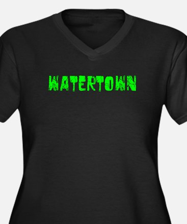 Watertown Faded (Green) Women's Plus Size V-Neck D