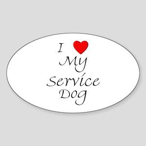 I Love My Service Dog Sticker (Oval)