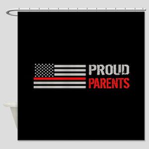 Firefighter: Proud Parents (Black) Shower Curtain