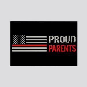 Firefighter: Proud Parents (Black Rectangle Magnet