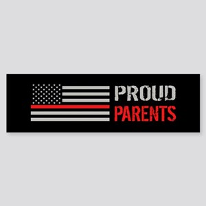 Firefighter: Proud Parents (Black Sticker (Bumper)