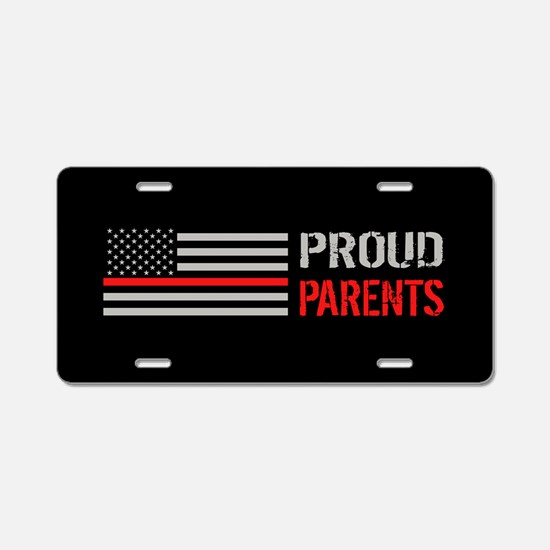 Firefighter: Proud Parents Aluminum License Plate