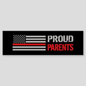 Firefighter: Proud Parents (Black Sticker (Bumper)