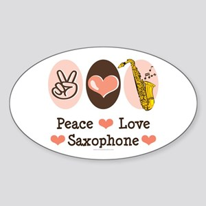 Peace Love Saxophone Sax Oval Sticker