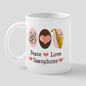 Peace Love Saxophone Sax Mug