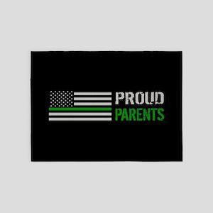 U.S. Flag Green Line: Proud Parents 5'x7'Area Rug