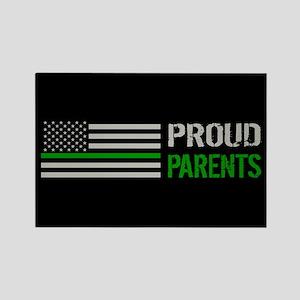 U.S. Flag Green Line: Proud Paren Rectangle Magnet