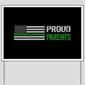 U.S. Flag Green Line: Proud Parents (Bla Yard Sign