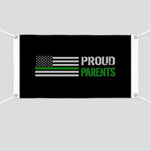 U.S. Flag Green Line: Proud Parents (Black) Banner