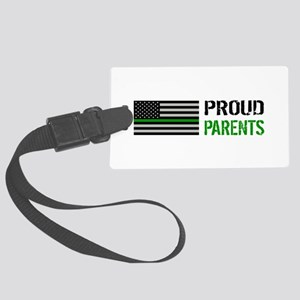 U.S. Flag Green Line: Proud Pare Large Luggage Tag