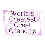 World's Greatest Great Grandma Sticker (Rectangle