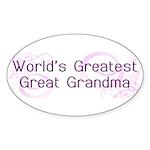 World's Greatest Great Grandma Sticker (Oval 50 pk