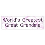 World's Greatest Great Grandma Sticker (Bumper 10