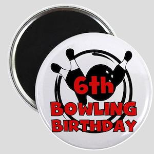 6th Bowling Birthday Magnet