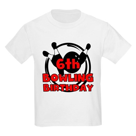 6th Bowling Birthday Kids Light T-Shirt