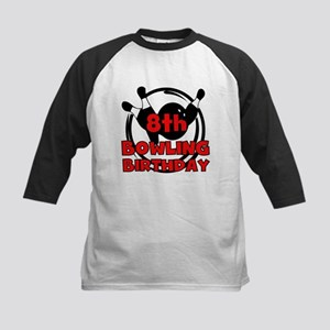 8th Bowling Birthday Kids Baseball Jersey