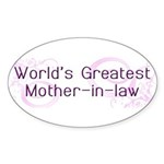World's Greatest Mother-in-Law Sticker (Oval 10 pk