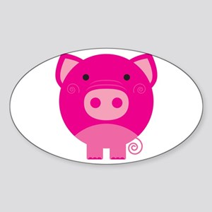Pink Pig Oval Sticker