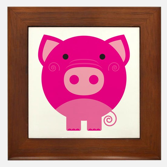 Pink Pig Framed Tile