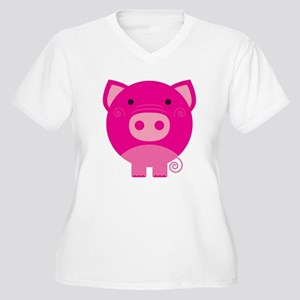 Pink Pig Women's Plus Size V-Neck T-Shirt