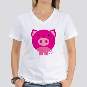 Pink Pig Women's V-Neck T-Shirt